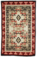 """Rug with elaborate interlocking """"Oriental"""" motifs in red, black, cream, gray, and brown, reciprocating T pattern in border."""