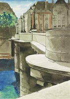 Le Pont Neuf, Paris, Man Ray, pen and black ink and watercolor, over traces of black chalk, on wove paper