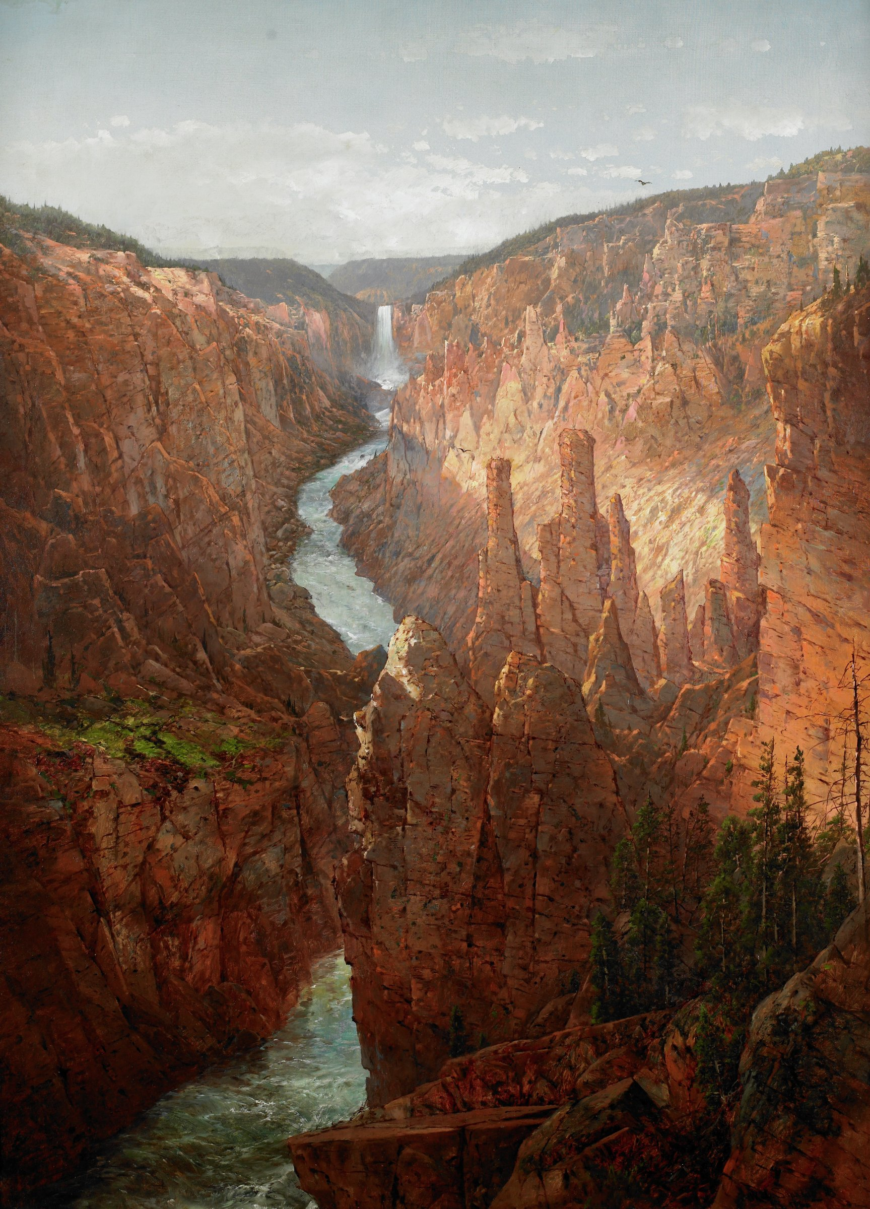 Grand Canyon, Yellowstone River, Wyoming, William Louis Sonntag, Sr., oil on canvas