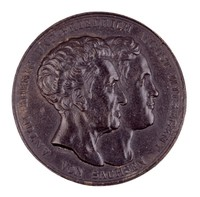 Obverse: Conjoined heads right. Reverse: The rolled Constitution within a wreath of crossed laurel and oak branches.