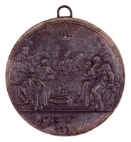 Obverse: Scene from the Last Supper. Reverse: Allegory of Faith holding in her right hand a wreath of stars and in her left a cross.
