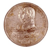 Obverse: The conjoined busts of King Friedrick Wilhelm III (1773-1840; 1797 King) and Queen Luise of Prussia (1776-1810) in profile left on a pedestal decorated with oak leaves. Reverse: Goddess of Nature seated while a winged genius of the mining industry lifts her veil, lions lie at her feet.