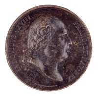 Obverse: Head of King Louis XVIII of France (1755-1824; 1814 King) in profile right. Reverse: The marble statue at Versailles depicting the Duke of Berry as a dying warrior in the arms of Faith.