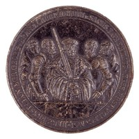 """Obverse: Five protesting princes. Reverse: Five protesting princes in the middle a """"Bürgermeister"""" as representative of the fourteen, also protesting, cities, holding hands over an open Bible."""