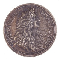 Obverse: Portrait bust in profile right. Reverse: A rocky mountain in clouds with a crown above and a warrior storming the summit with shield and sword below.
