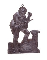 """Identified by Ames as """"Blind Jack,"""" born John Metcalfe of Knaresborough (1717-1810). He became blind at age six, but learned to play the violin, ride, swim, build houses and bridges, and is famous for the many roads constructed by him."""