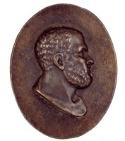 Bust in profile right.