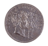 Obverse: Triple conjoined portraits staggered in profile right. Reverse: The three members of the triumvirate at a table with a map dividing the Roman world between them.