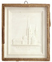 Plaster cast of the New Year's card with a view of the cathedral in Bonn, in cardboard frame under glass.