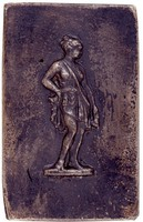 Classically dressed female figure standing right.
