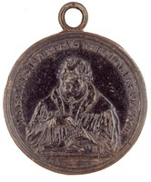 Obverse: Bust front holding the Ninety-Five Theses. Reverse with inscription.