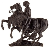 Silhouetted relief plaque of figure on rearing horse with another horse in foreground.