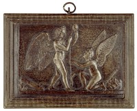 Cupid and Hymen Spinning the Thread of Life, Modeled after a relief (1831) by Bertel Thorwaldsen, Ilsenburg, cast iron