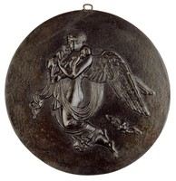 """Round cast-iron medallion depicting an allegory of """"Night""""—the winged figure of Night floats through the air and carries the twins Sleep and Death in her arms, an owl flies behind her below her wings."""