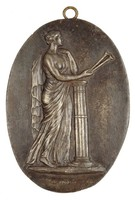 Euterpe, Muse of Lyric Poetry, Modeled after a Wedgwood medallion by John Flaxman, Jr., Royal Prussian Iron Foundries, cast iron