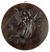 """Round cast-iron medallion depicting an allegory of """"Morning""""—the winged Aurora scattering rose blossoms floats through the air with the genius of light in the form of a small putti holding a torch."""