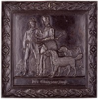 Scene of two hunters with dogs on their way to the hunt, in cast-iron frame decorated with oak leaves and acorns.