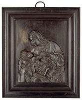 """Madonna and Child, Modeled by Leonhard Posch, After """"Virgin of the Green Cushion"""" (1507/10) by Andrea Solario, Royal Prussian Iron Foundry, Berlin, or Royal Prussian Iron Foundry, Gleiwitz, cast iron"""