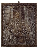 Large, rectangular, cast-iron plaque with the relief image of the Deposition, or Entombment of Christ, after being removed from the cross, the body of Christ is carried by Nicodemus and Joseph of Arimathea to the grave, behind them are the Virgin Mary swooning, Mary Magdalene, Martha and her sister Mary as well as Saint John against an architectural background, in a cast-iron frame with acanthus leaf motifs.