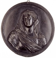 Draped bust three-quarter front, the head turned to the left.