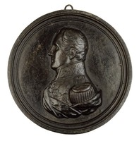 Bust in profile left in general's uniform with epaulet, medals, and ermine mantle.