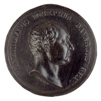 Head in profile left. This portrait was used on the Bavarian Kronthaler in 1809 and again for the Rheingold Ducat in 1821.
