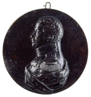 Bust in profile left in the uniform of the Prussian First Infantry Regiment with the Order of the Black Eagle, the Iron Cross, and a third military medal, with ermine mantle.
