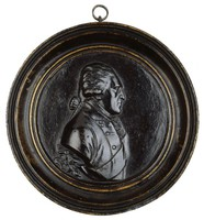 Bust in profile right in uniform with sash, in large cast iron frame.