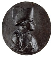 Bust right in the imperial uniform of the Chasseurs à Cheval with trademark bicorne hat.