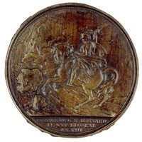 Obverse: General Napoleon on horseback crossing the Alps at the St. Bernhard Pass on May 14, 1800, prior to the battle of Marengo.