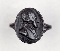Cast-iron ring, the plain band with split shoulder, the face with an oval portrait medallion with the bust of Friedrich Augusts I, King of Saxony (1750-1827; king from 1806) in profile right.
