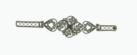Delicate arm bracelet of cast iron openwork filigree, the band in a pattern of attached circles that extend on either side to a link in the form of a heart made of two scrolling elements with six smaller scrolling elements inside, the large, four-part central link comprised of four main scrolling elements each with three or five smaller scrolling elements inside, the clasp a simple hook.