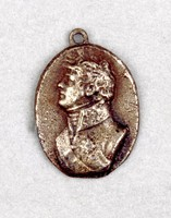Small cast-iron pendant medallion with the portrait bust of Emperor Alexander I Pavlovich (1777-1825; 1801 Emperor) in profile left, with small eye for hanging.