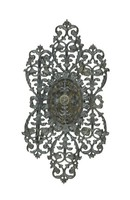 Cast-iron clasp for a bracelet comprised of pierced, scrolling foliage with a small central medallion with a rosette on a steel plate.