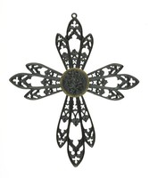 Small cast-iron cross pendant, each of the arms three-part, in the form of Gothic tracery motifs, the central medallion is in the form of a gold-mounted rosette.