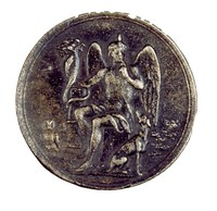 Obverse: Seated Harpocrates with finger to lips, with cornucopia in right hand and dog and owl at feet. Reverse with inscription.