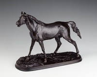 Johann Heinrich Kureck was an animal sculptor at Mägdesprung after 1843. This model was also cast at Kasli Iron Works in Ekaterinenburg about 1870 and at Mägdesprung with the horse enclosed in a small pen.