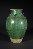 Stoneware with green glaze; probably had a cover at one time