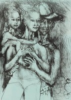 Family, Philip Evergood, lithograph