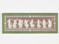 Lilac, green, and white jasper with eight draped figures