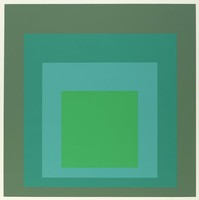 An abstract composition made up of four squares layered onto one another. The top square is green. Behind it is light blue, greenish-blue,  then dark grey.