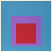An abstract composition made up of three squares layered onto one another. The top square is red. Behind it is purple then blue.