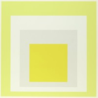 An abstract composition made up of four squares layered onto one another. The top square is yellow. Behind it is light grey, white, then pale yellow.