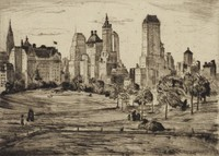Plaza Towers, Mortimer Borne, drypoint