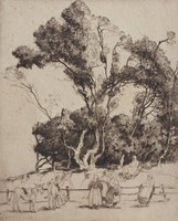 Gossips, Moirmoutier, Alfred Heber Hutty, etching