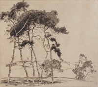 Sussex Pines In England, Alfred Heber Hutty, etching