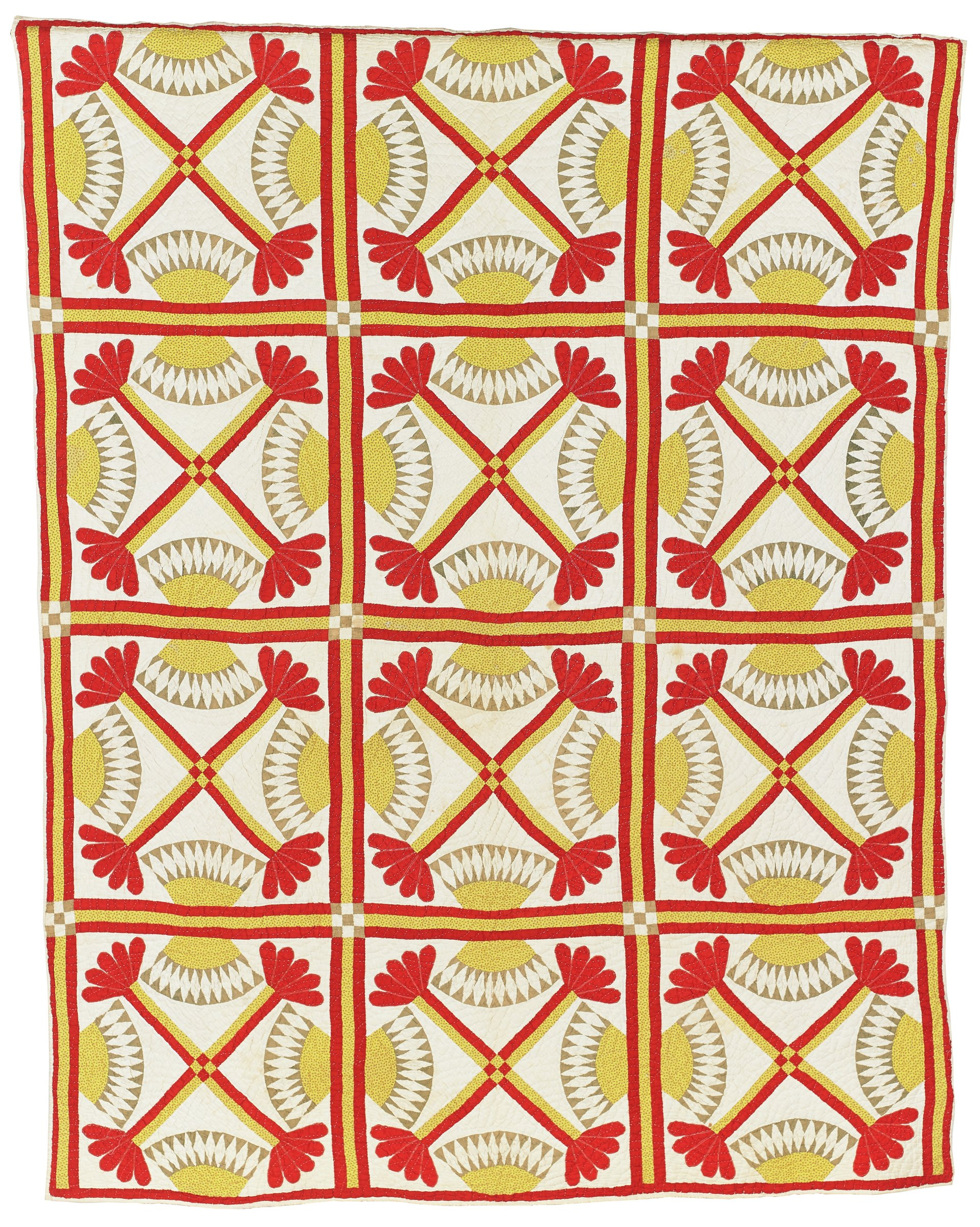 """Cotton in red, green, yellow and red. Print on white ground. Pieced quilt with four major squares across by three major squares down; white ground with """"X"""" design with leaves at end and four fans in each square; arched quilting, cotton batting."""