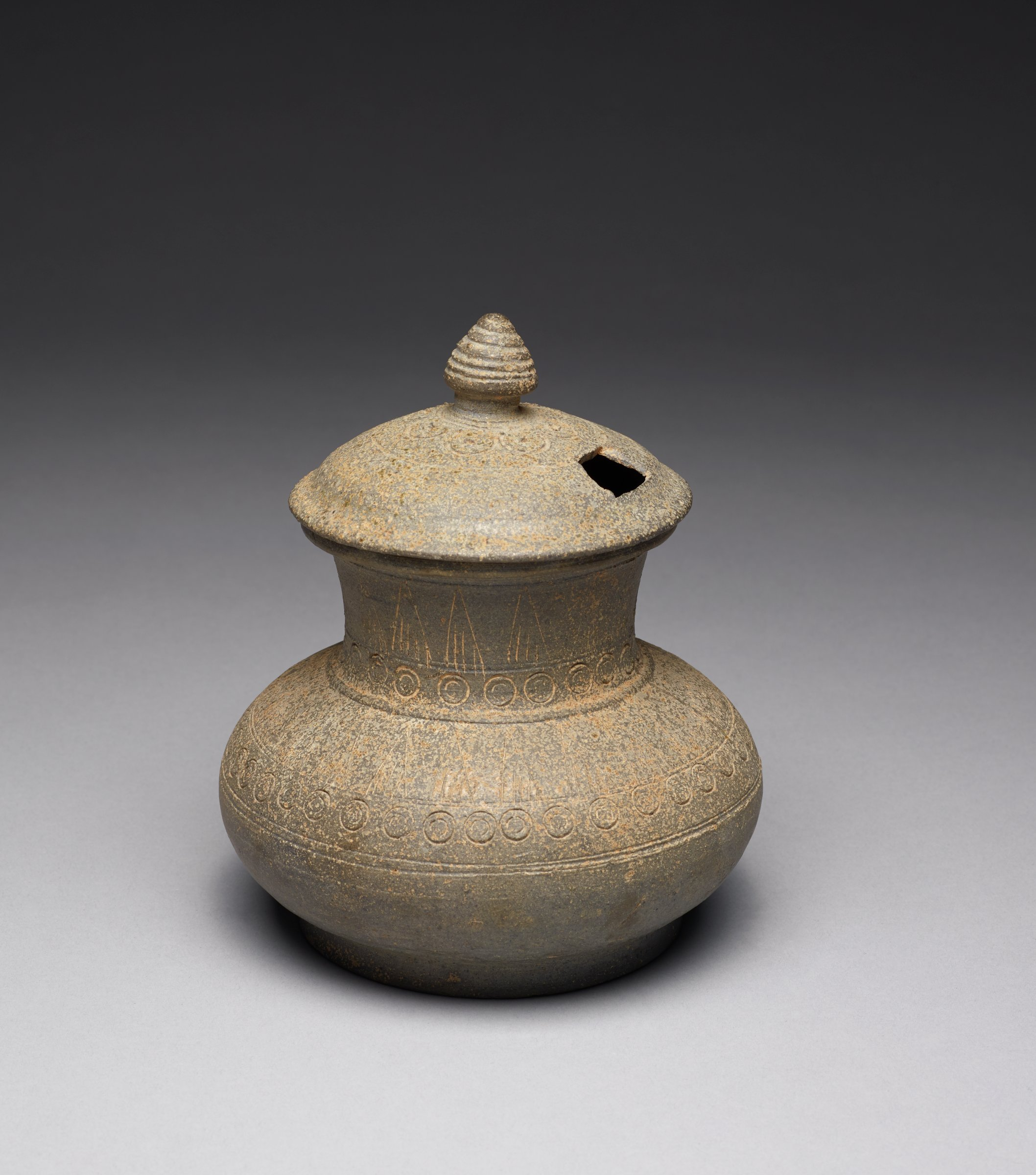 """Lotus-Bud Finial and Pierced Lid for Covered Urn with Carved Lotus Motifs; Thickly potted Jar: 5 5/8"""" Dia; H: 4""""Cover: 3.75 Dia.; H: 1.5"""""""