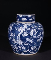 """Blossoming Plum Tree on Cracked Ice Patterned Covered """"Ginger"""" Jar"""