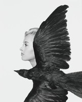 Profile of Tippi Hedren with crow in foreground